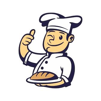 Mascota de pan de chef de dibujos animados
