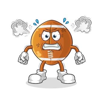 Mascota de pelota de rugby muy enojado aislado en blanco