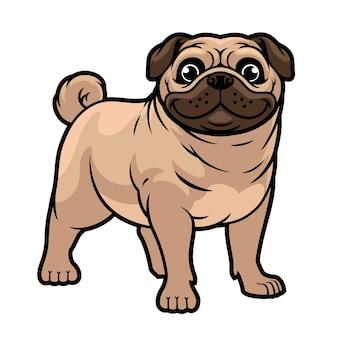 Mascota de perro pug de dibujos animados