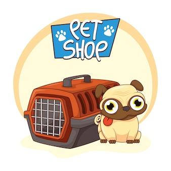 Mascota de perro pug lindo con carácter de transporte de caja