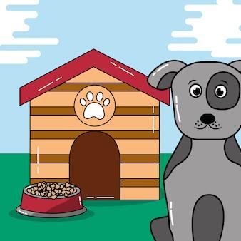Mascota de perro sentarse con casa de madera y plato de comida