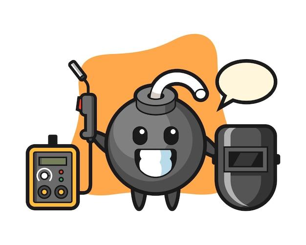 Mascota de personaje de bomba como soldador.