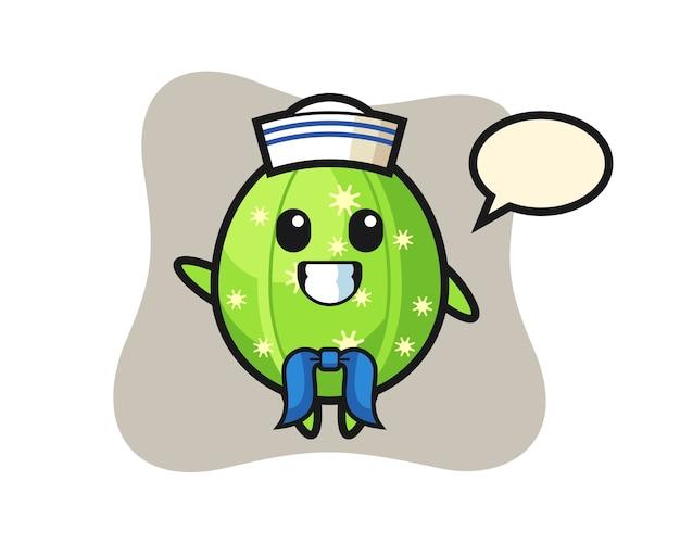 Mascota de personaje de cactus como marinero.
