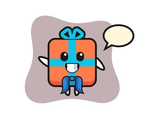 Mascota de personaje de caja de regalo como marinero