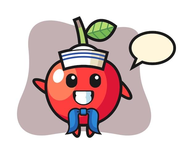 Mascota del personaje de cereza como marinero, diseño de estilo lindo