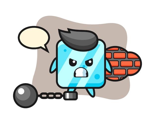 Mascota de personaje de cubo de hielo como prisionero