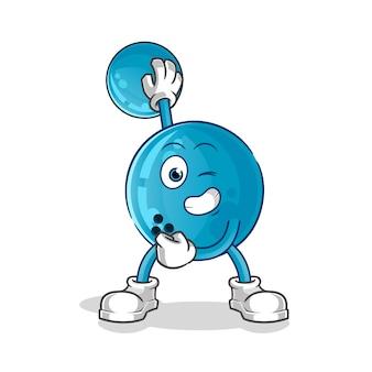 Mascota del personaje de dibujos animados de bola de boliche