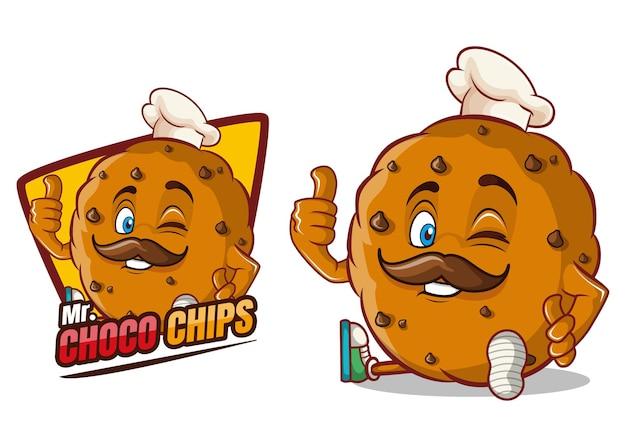 Mascota de personaje de dibujos animados de choco chips