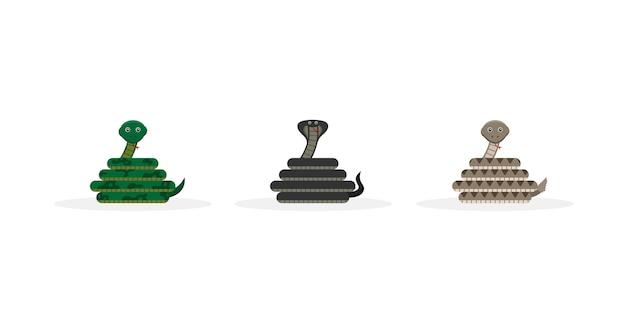 Mascota de personaje de dibujos animados de serpiente linda