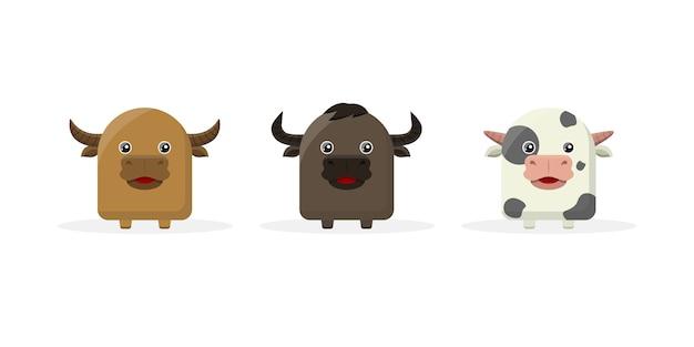 Mascota de personaje de dibujos animados de vaca linda