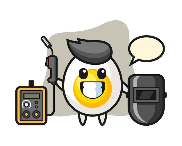Mascota del personaje de huevo cocido como soldador