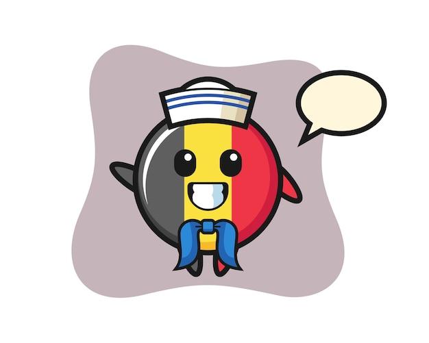 Mascota de personaje de la insignia de la bandera de bélgica como un marinero