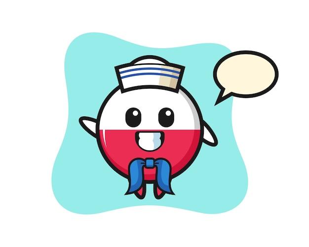 Mascota de personaje de la insignia de la bandera de polonia como un marinero