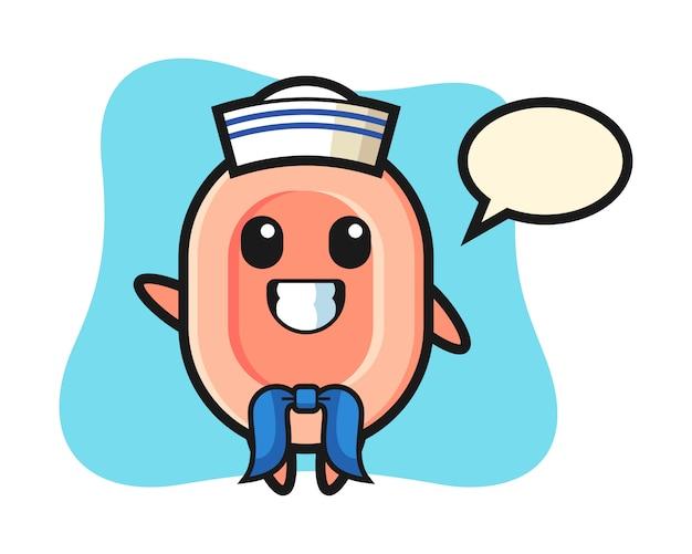 Mascota de personaje de jabón como marinero, estilo lindo para camiseta, pegatina, elemento de logotipo