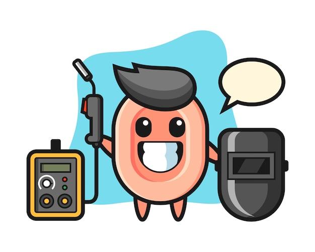 Mascota de personaje de jabón como soldador, estilo lindo para camiseta, pegatina, elemento de logotipo