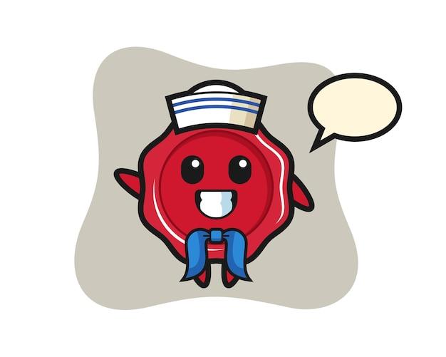 Mascota de personaje de lacre como un marinero