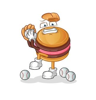 La mascota del personaje del lanzador de béisbol macarrón