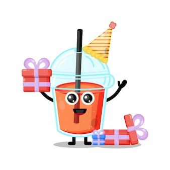 Mascota de personaje lindo de cumpleaños de taza de jugo de plástico