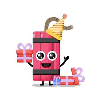 Mascota de personaje lindo dinamita de cumpleaños