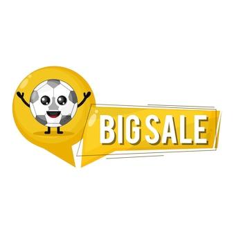 Mascota de personaje lindo de gran venta de fútbol