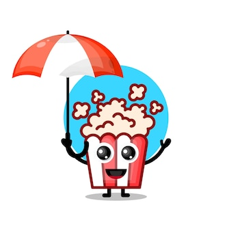 Mascota de personaje lindo paraguas de palomitas de maíz