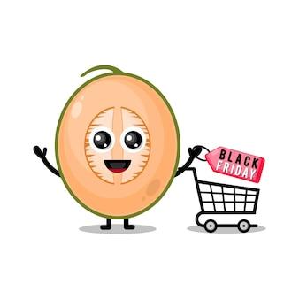 Mascota de personaje lindo de viernes negro de compras de melón