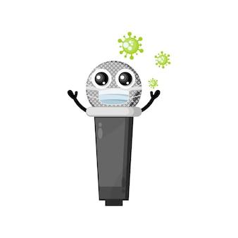 Mascota de personaje lindo virus de máscara de micrófono