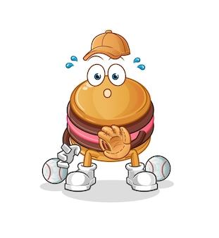 La mascota del personaje de macarrón de béisbol catcher