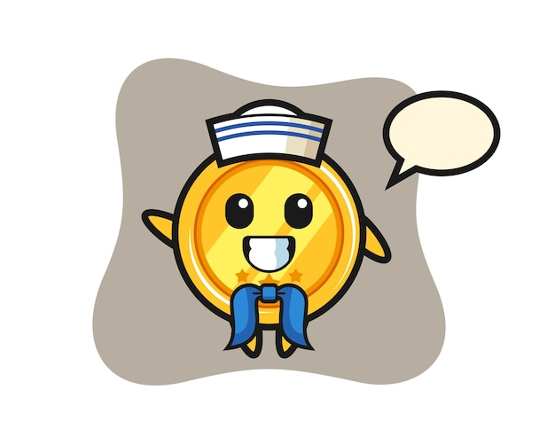 Mascota de personaje de medalla como marinero.