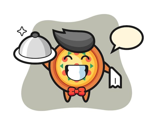 Mascota de personaje de pizza como camareros.