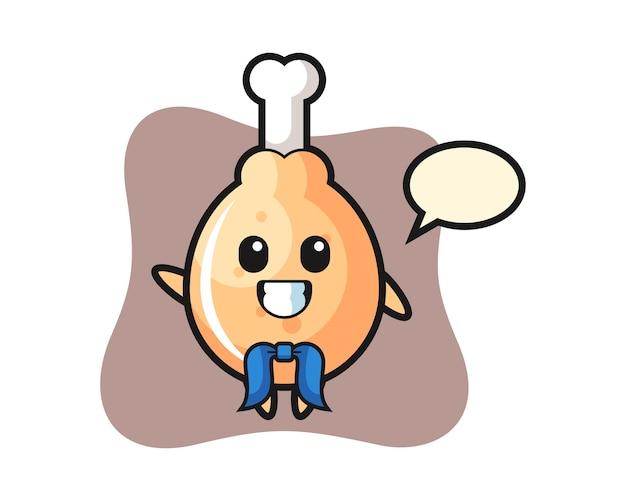 Mascota de personaje de pollo frito como marinero