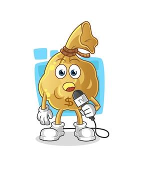 La mascota del personaje del reportero de televisión de la bolsa de dinero