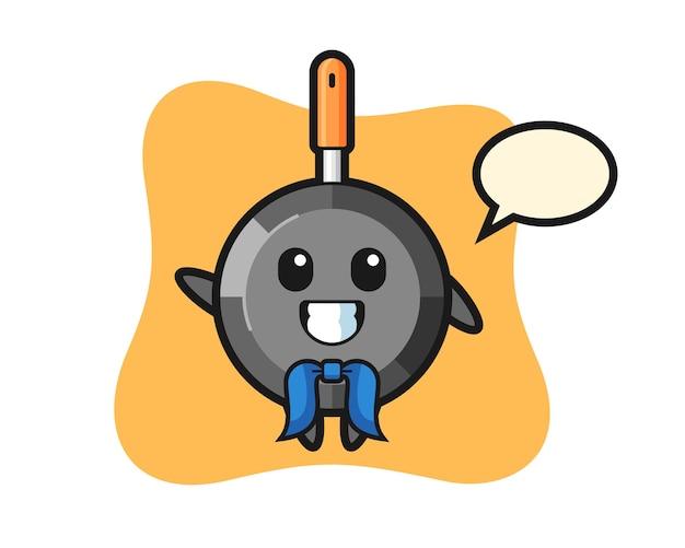 Mascota de personaje de sartén como marinero