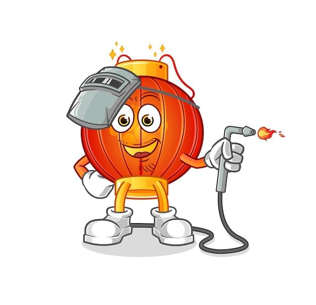 La mascota del personaje del soldador de linterna china