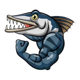 Mascota de pescado de barracuda enojado fuerte de dibujos animados