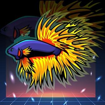 Mascota de pez betta de cola de corona. diseño de logo de esport