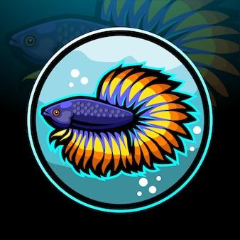 Mascota de pez betta. diseño de logo de esport