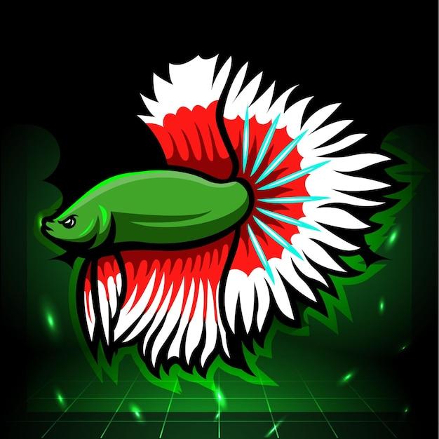 Mascota de pez betta halfmoon. diseño de logo de esport