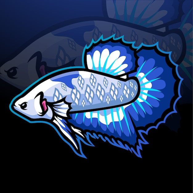 Mascota de pez betta. logotipo de esport