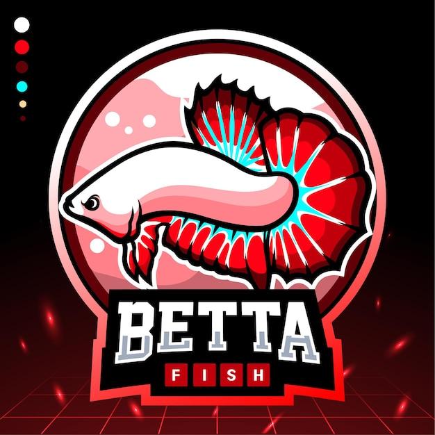 Mascota de pez betta. logotipo de esport
