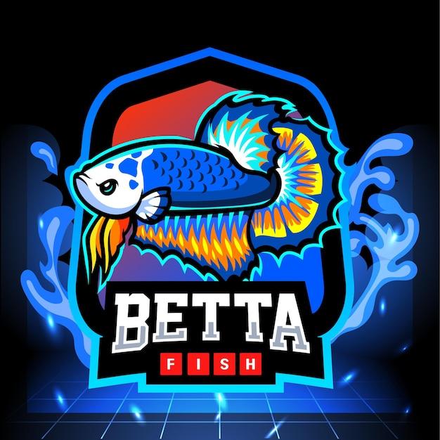 Mascota de pez betta panda azul. diseño de logo de esport