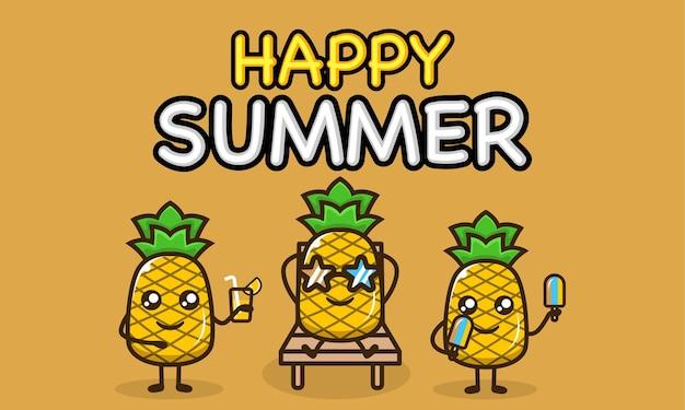 Mascota de piña fresca en plantilla de banner de vacaciones de verano