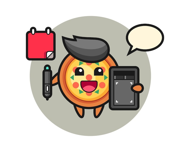 Mascota de la pizza como diseñador gráfico