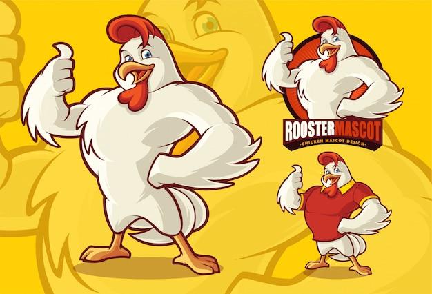 Mascota de pollo para comida o negocios agrícolas con evaluación opcional.