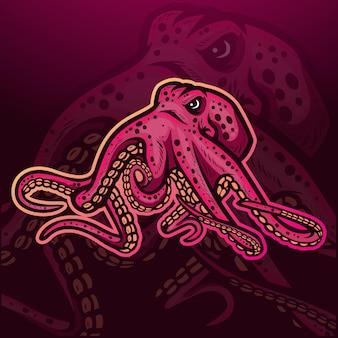 Mascota de pulpo kraken. diseño de logo de esport