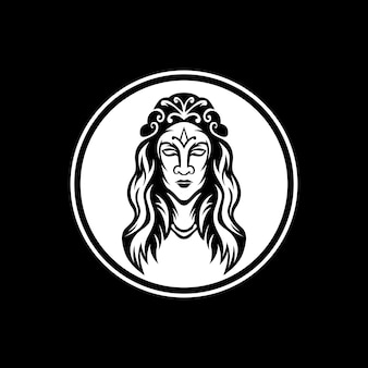 La mascota de la reina con marco de círculo