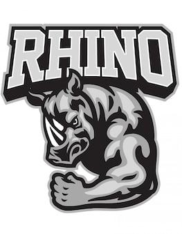 Mascota de rhino mostrando su brazo muscular