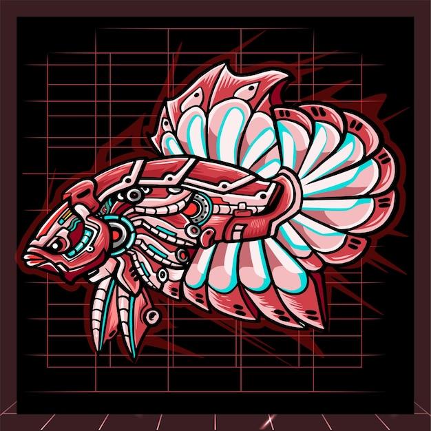 Mascota robot mecha pez betta. diseño de logo de esport