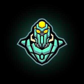 Mascota robótica de juegos con logo de ninja e sports