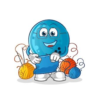 Mascota de sastre de bola de bolos. dibujos animados